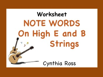 Guitar Worksheet: Note Words on the (high) E and B Strings