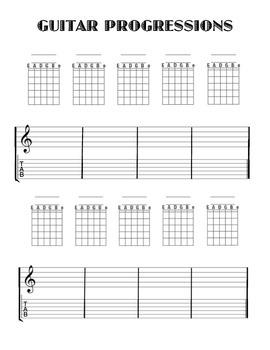 Guitar progression worksheet with Tablature...