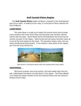 Gulf Coastal Plains Region in Texas