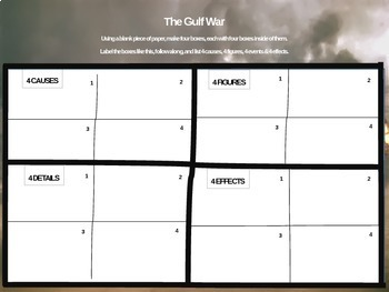 Gulf War - 4 causes, 4 figures, 4 events, 4 effects (20-slide PPT)