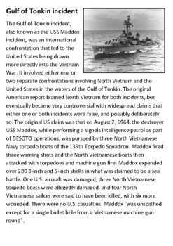 Gulf of Tonkin Incident Handout