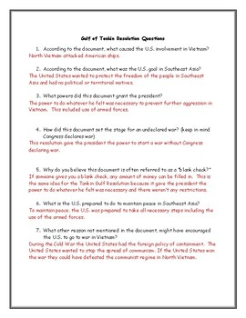 gulf of tonkin resolution worksheet with answer key by jmr history. Black Bedroom Furniture Sets. Home Design Ideas