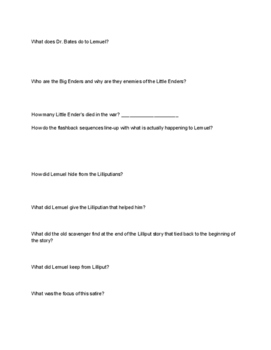 Gulliver's Travels Movie Study Guide