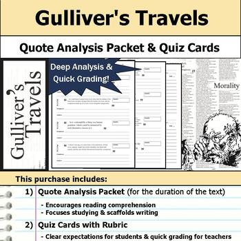 Gulliver's Travels - Quote Analysis & Reading Quizzes