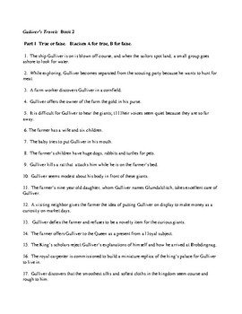 Gulliver's Travels  Book 2 test 100q AND KEY