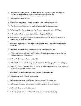 Gulliver's Travels Book 4 Test (100 questions) and KEY