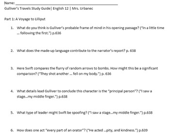 Gulliver's Travels Study Guide and KEY (Abridged Textbook Version)