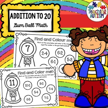 Gum Ball Math Addition to 20