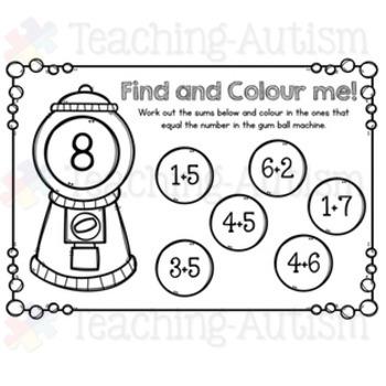 Addition and Subtraction Math Gum Balls