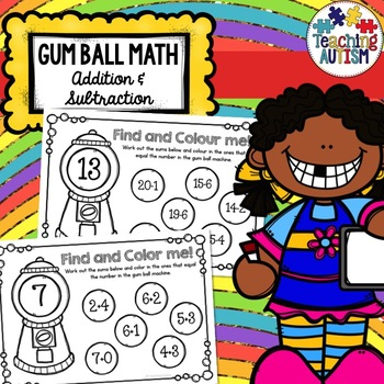 Addition and Subtraction Math Gum Balls