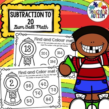 Gum Ball Math Subtraction 0 to 20