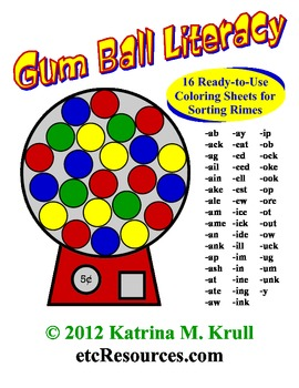 Gum Ball Rime Sorting & Coloring Sheets