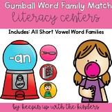 Gum Ball Word Family Match Literacy Center