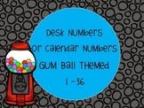 Gum Ball Theme Desk Numbers Calendar Number 1-36