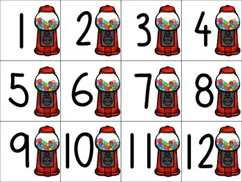 Gum Ball Theme Desk Numbers Calendar Number 1-36
