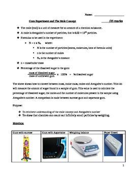 Gum Experiment and The Mole Concept