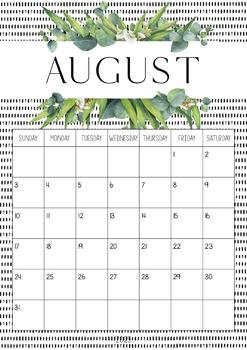 Gum Leaf Themed Calendar