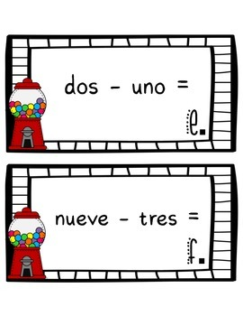 Gumball Addition and Subtraction - Spanish Numbers