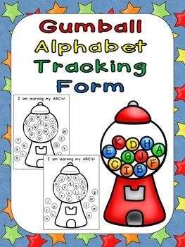 FREE Gumball Alphabet Tracking Form- Kindergarten Assessment Self-Monitoring