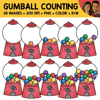 Gumball Counting Scene Clipart