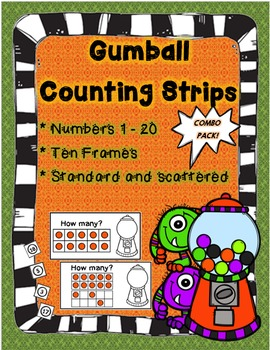 Gumball Counting Strips! Count using anchors of 5 & 10! (Number 1 - 20 included)