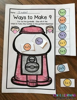 Gumball - Differentiated Ways To Make Numbers 1-20 NO PREP Cut & Paste Printable