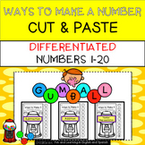 Gumball - Differentiated Ways To Make Numbers 1-20 NO PREP Cut & Paste