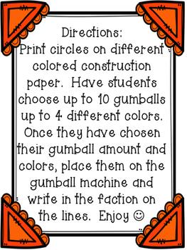 Gumball Fraction Craftivity