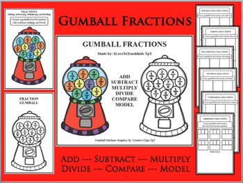 Gumball Fraction Games Activities for Adding Subtracting Multiplying Dividing +