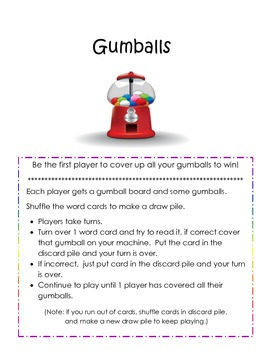 Gumball Game - easy sight words  - center activity