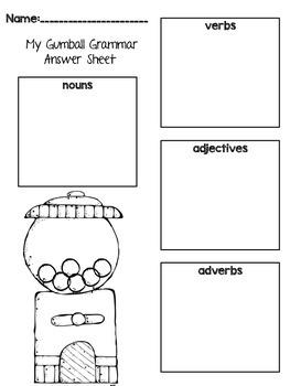Gumball Grammar: QR Code Parts of Speech Center for Daily Five Word Work