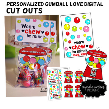 Gumball Love Valentine Card Favor Hand out Classroom Party Favor Printable
