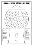 Gumball Machine Maths / Addition / Dice game