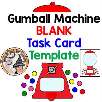 gumball machine blank task cards template and student sheet create