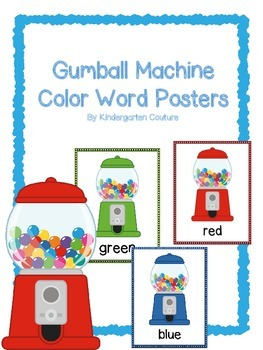 Gumball Machine -Color Word Posters