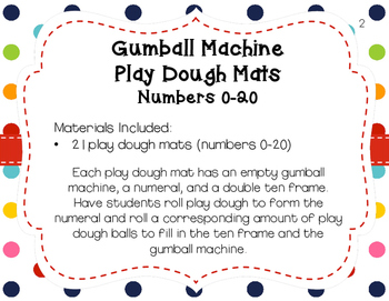 Gumball Machine Play Dough Mats Numbers 0 to 20