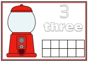 Gumball Machine Playdough Mat- Numbers (0-10) with Ten Frames