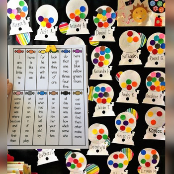 Gumball Machine Sight Word Data Wall (90 word option and 200 word option)