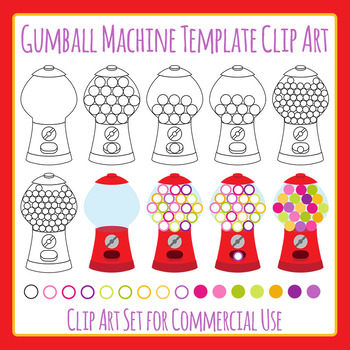 Gumball machine template teaching resources teachers pay teachers gumball machine template clip art set for commercial use pronofoot35fo Images