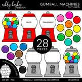 Gumball Machines Clipart - Outlined - [Ashley Hughes Design]