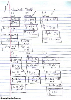 Gumball Math - 2 step equations