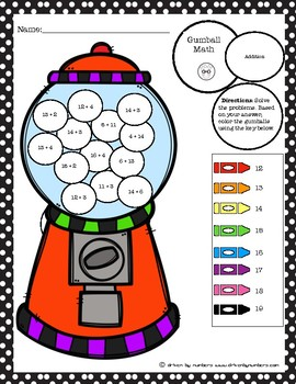 Gumball Math Coloring Worksheet: Adding Numbers Sum of 10-20