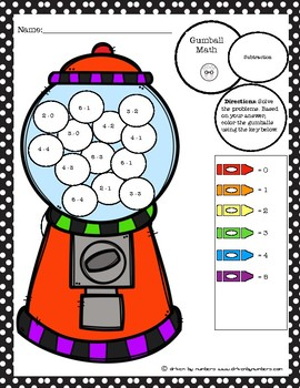 Math Coloring Worksheet With Subtraction And Addition Teaching ...