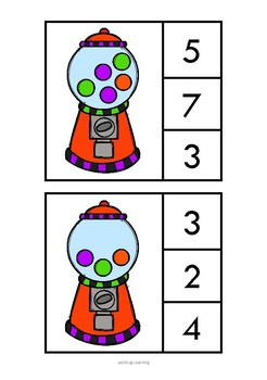 Gumball Math Count and Clip Cards