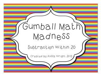 Gumball Math Madness Subtraction Within 20