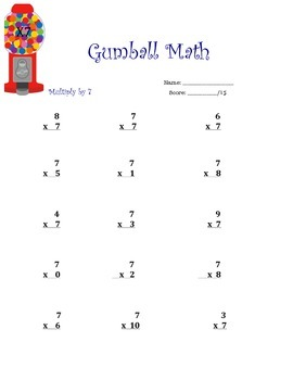 Gumball Math- Single Digit Multiplication