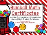 Gumball Math Student Achievement Certificates