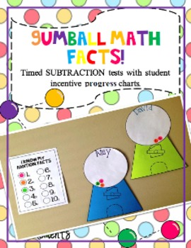 Gumball Math Subtraction Fact Tests with Incentive and Progress Tracking