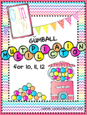 Gumball Multiplication Math Facts 10, 11, 12 for Math Centers