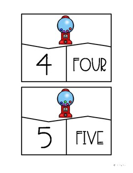 Gumball Number Puzzles 1-10 Math Center